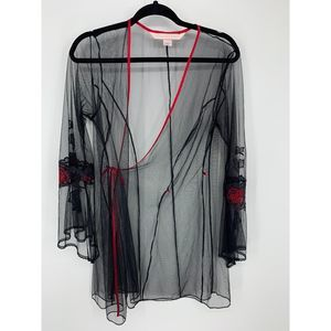 Victoria's secret black red sheer robe M L